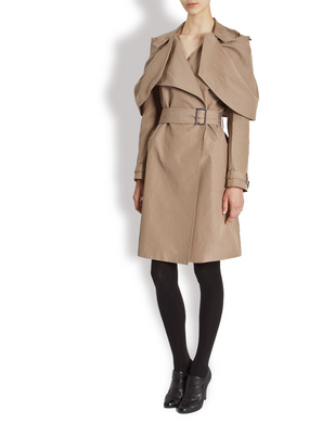 Trench Coat w/ Shoulder Detail :  coat drape trench coat draping