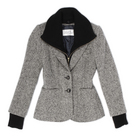 Tweed Jacket w/ Cashmere Dickey :  jacket cuffs grey sweater