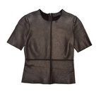 Leather Short Sleeve Tee w/ Black Jersey Back